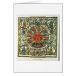 The Sun y el zodiaco, ruso, fin del siglo XVIII Tarjetón