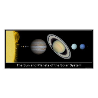 The Sun y planetas de la Sistema Solar Póster