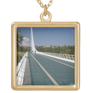 The Sundial Bridge at Turtle Bay Gold Plated Necklace