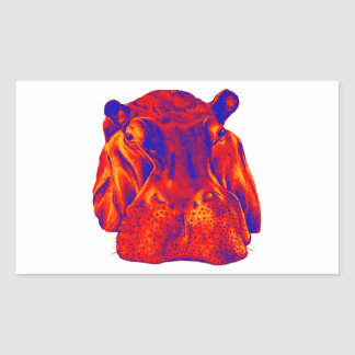 THE SUNRISE HIPPO RECTANGULAR STICKER
