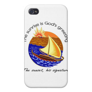 The sunrise is Gods greeting Christian saying iPhone 4 Cover