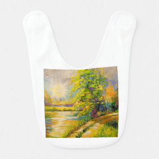 The sunset over the river baby bib