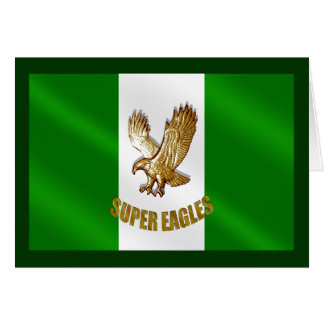 The Super Eagles in Gold on a Nigerian flag Card