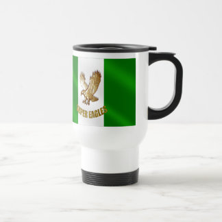 The Super Eagles in Gold on a Nigerian flag 15 Oz Stainless Steel Travel Mug