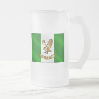 The Super Eagles in Gold on a Nigerian flag 16 Oz Frosted Glass Beer Mug