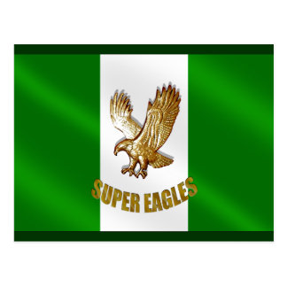 The Super Eagles in Gold on a Nigerian flag Postcard