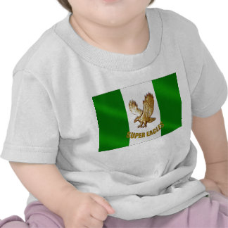 The Super Eagles in Gold on a Nigerian flag Tee Shirt