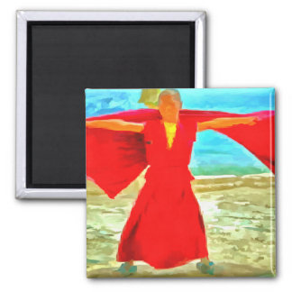 The super fit monk in red magnet