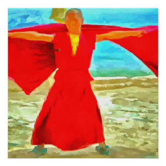 The super fit monk in red poster