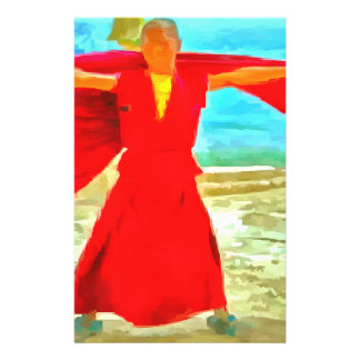 The super fit monk in red stationery