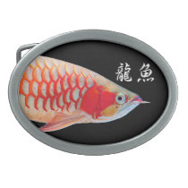 """The superior product 2 """"of Super Red Arowana"""" Oval Belt Buckle"""