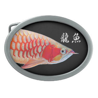 "The superior product 2 ""of Super Red Arowana"" Oval Belt Buckle"