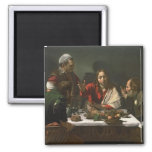 The Supper at Emmaus, 1601 (oil and tempera) 2 Inch Square Magnet
