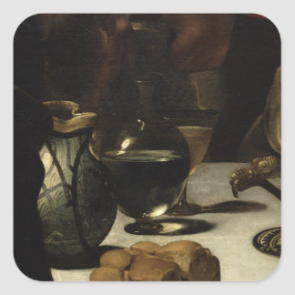 The Supper at Emmaus, 1601 Square Sticker