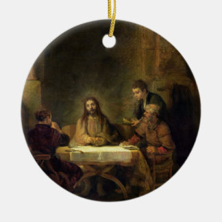 The Supper at Emmaus, 1648 (oil on panel) Ceramic Ornament