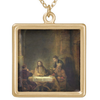 The Supper at Emmaus, 1648 (oil on panel) Gold Plated Necklace