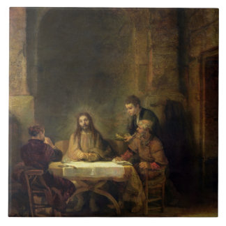 The Supper at Emmaus, 1648 (oil on panel) Tile