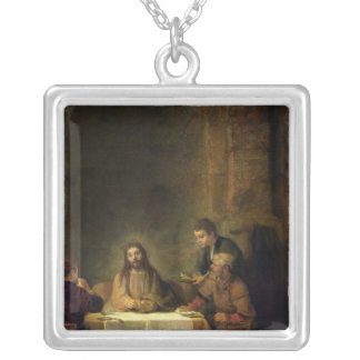 The Supper at Emmaus, 1648 Silver Plated Necklace