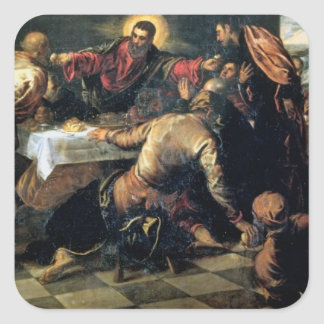 The Supper at Emmaus (oil on canvas) Square Stickers