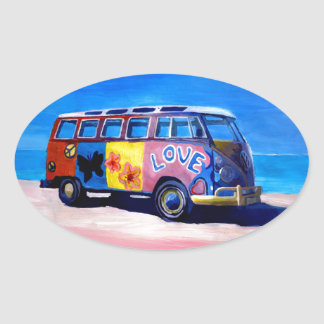 The surf Bus Series - The Love Surf Bus Oval Sticker