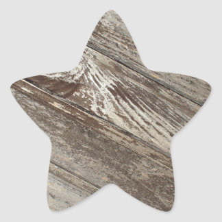 The surface of the old wooden planks brown star sticker