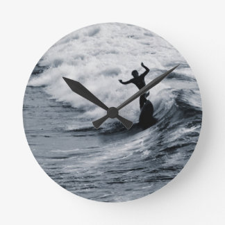 The Surfer, Fistral Beach, Newquay, Cornwall, UK Round Clock