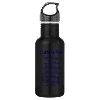 The surfers code in blue 18oz water bottle