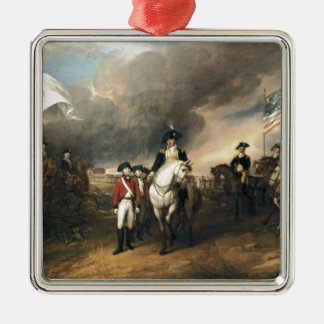 The Surrender of Lord Cornwallis Square Metal Christmas Ornament