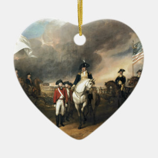 The Surrender of Lord Cornwallis Double-Sided Heart Ceramic Christmas Ornament