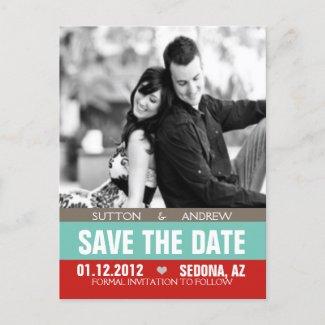 The Sutton Wedding Announcement postcard