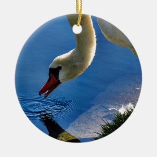 The Swan Takes a Sip Ceramic Ornament