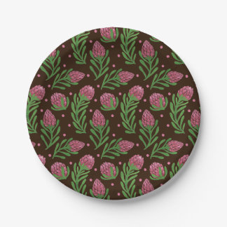 The Sweet Protea Pattern on Paper Plate Illustration by Haidi Shabrina