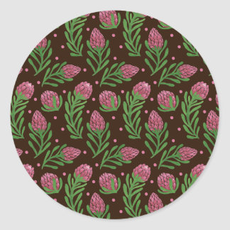 The Sweet Protea Pattern on Round Sticker Illustration by Haidi Shabrina