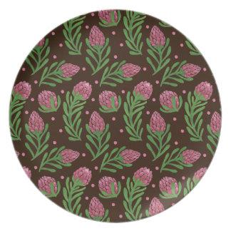 The Sweet Protea Pattern on Plate Illustration by Haidi Shabrina