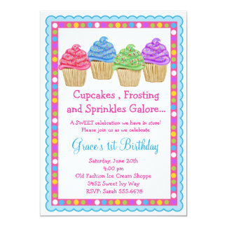 The Sweetest Cupcakes  Birthday Invitation