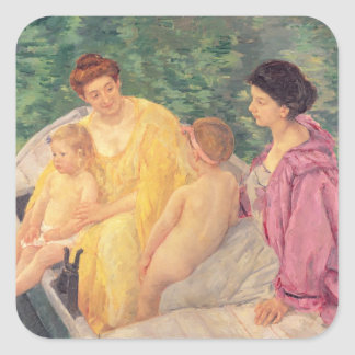 The Swim or Two Mothers & Their Children on a Square Sticker
