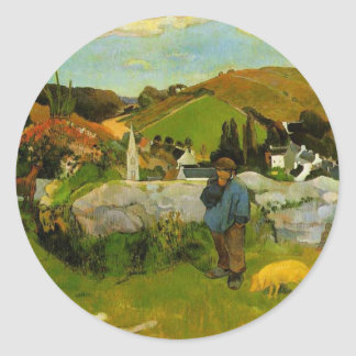The Swineherd, Brittany by Paul Gauguin Classic Round Sticker