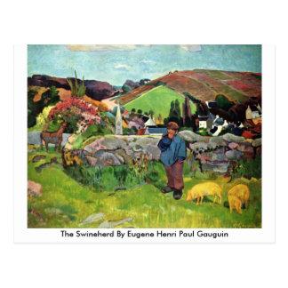 The Swineherd By Eugene Henri Paul Gauguin Postcard