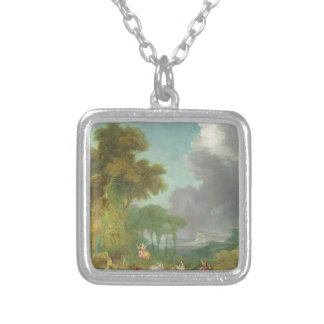 The Swing by Jean-Honore Fragonard Square Pendant Necklace