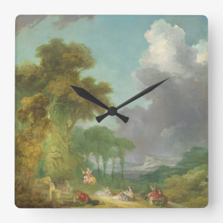 The Swing by Jean-Honore Fragonard Square Wall Clock