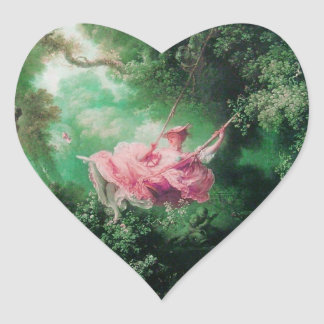 THE SWING  green pink Heart Stickers