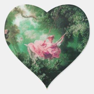 THE SWING  green pink Heart Sticker
