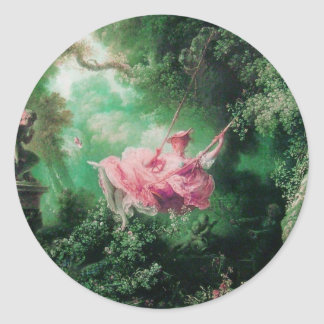 THE SWING  green pink Classic Round Sticker