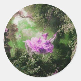 THE SWING  green violet purple Classic Round Sticker
