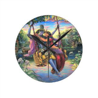 The Swing Pastime - Radha and Krishna Round Clock