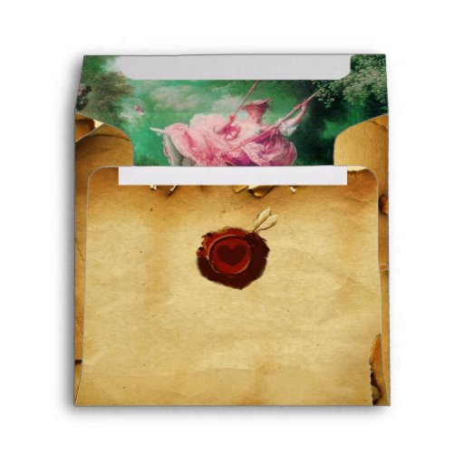 THE SWING, RED WAX SEAL PARCHMENT, fuchsia pink Envelope