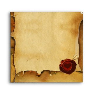 THE SWING, RED WAX SEAL PARCHMENT green pink envelope