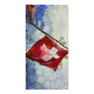 The Swiss Flag in a storm Card