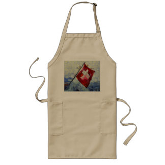 The Swiss Flag in a storm Long Apron