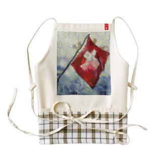 The Swiss Flag in a storm Zazzle HEART Apron